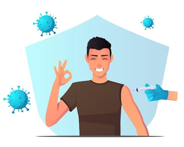 Homem recebendo vacina e desenvolvendo imunidade e protegido contra vírus, com um sinal de ok