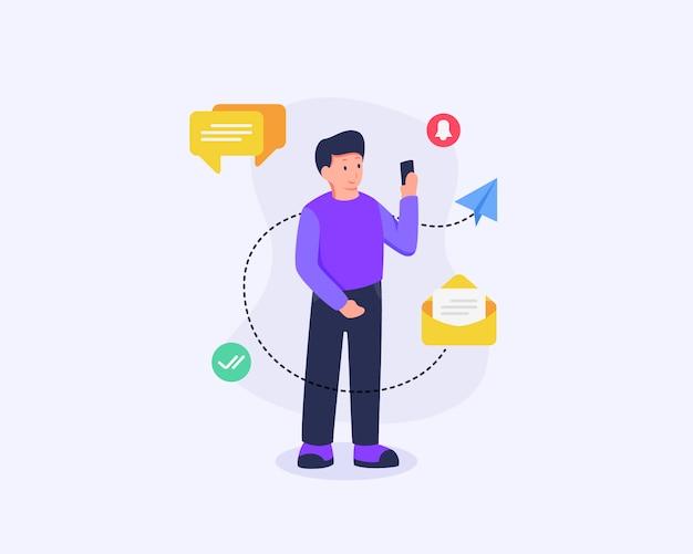 Homem receber notificações nas mídias sociais e mídia de tecnologia com estilo simples