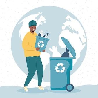 Homem reciclando personagem