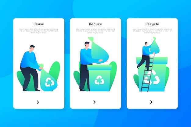 Homem reciclando telas de aplicativos onboarding