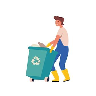 Homem recolhendo lixo e resíduos plásticos para reciclagem. reciclagem de serviço. recicle o lixo orgânico em diferentes recipientes para separação para reduzir a poluição ambiental.