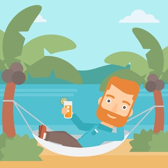 Homem, refrigerar, em, hammock