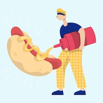 Homem regando mostarda em um cachorro-quente. ícone de desenho animado plana de vetor de cor. conceito para fastfood