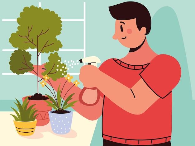 Homem regando plantas domésticas
