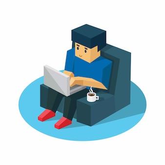 Homem relaxa com seu laptop. molde do web do projeto do fundo da ilustração. trabalhe em casa conceito.