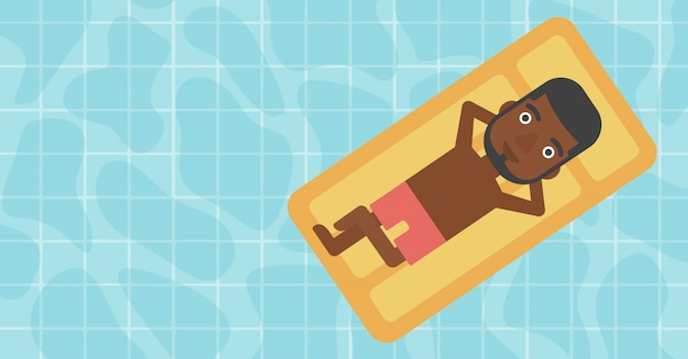 Homem, relaxante, em, piscina