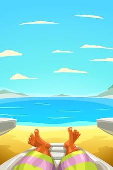 Homem relaxante na costa de areia