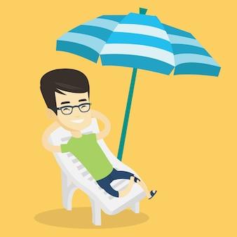 Homem relaxante na ilustração de cadeira de praia.
