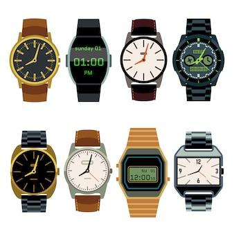 Homem, relógio pulso, apartamento, vetorial, jogo
