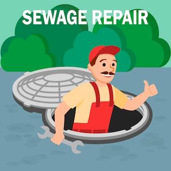 Homem, repairman, com, ferramenta chave inglesa, em, abertura, manhole