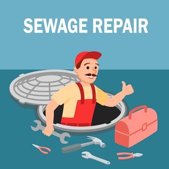 Homem, reparador, com, equipamento encanamento, em, bueiro
