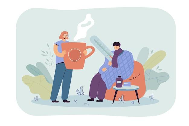Homem resfriado e resfriado, envolvendo-se em uma manta, medindo a temperatura corporal. ilustração de desenho animado