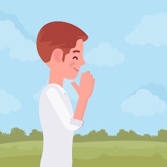 Homem rezando em gesto de namaste com a mão