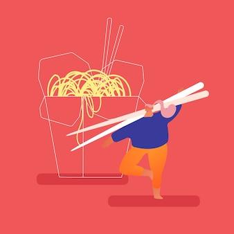 Homem robusto segurando enormes pauzinhos de madeira no restaurante de fast-food chinês em pé na caixa wok para viagem com macarrão. nutrição fastfood tradicional asiática, refeição do almoço. flat cartoon