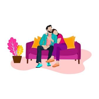 Homem romântico e mulher no sofá