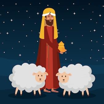 Homem sábio com ovelhas na noite