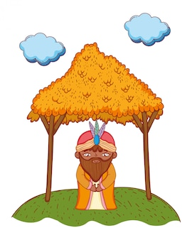 Homem sábio rei dos desenhos animados