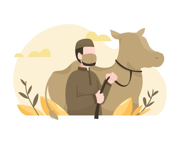 Homem sacrifica uma vaca para comemorar a ilustração do eid al-adha