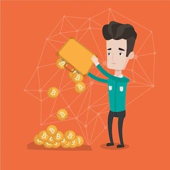 Homem sacudindo moedas bitcoin da maleta.