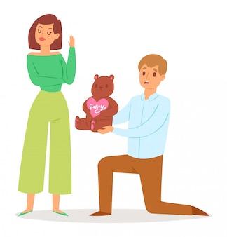 Homem se desculpando com mulher