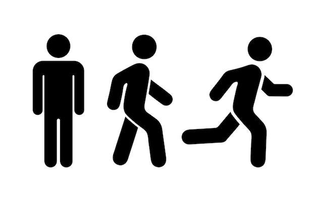 Homem se levanta, anda e executa o conjunto de ícones. ilustração vetorial