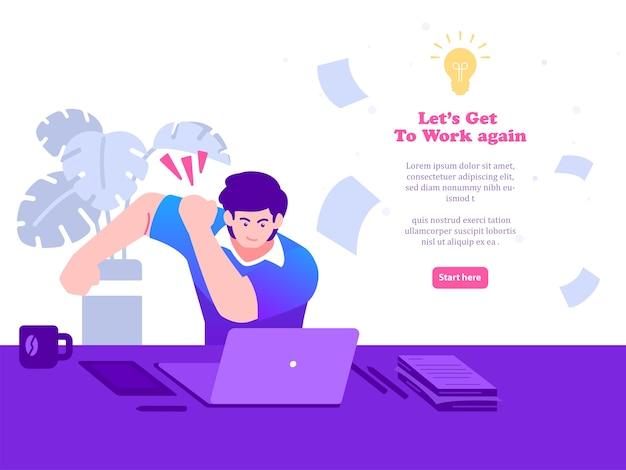 Homem se prepara para trabalhar na frente do computador. de volta ao trabalho ilustração do conceito