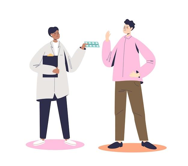 Homem se recusando a receber tratamento médico e comprimidos do médico. conceito de recusa de medicação. paciente de desenho animado do sexo masculino se recusa a usar drogas