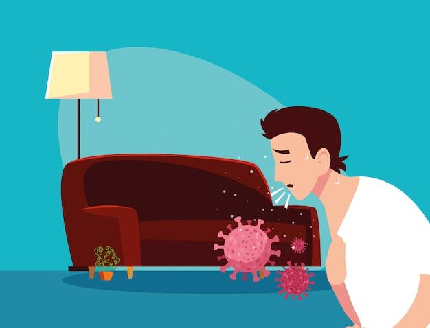 Homem se sentindo doente em casa vector design