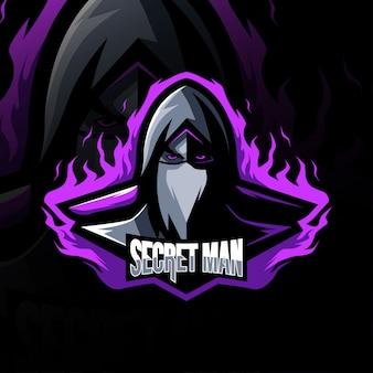 Homem secreto mascote logotipo esport