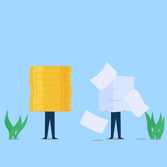 Homem segura moedas, enquanto outros seguram papéis metáfora de esforço e recompensa. ilustração do conceito de plano de negócios.