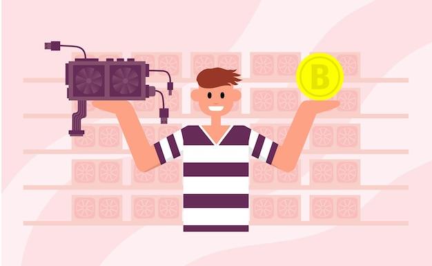 Homem segura um bitcoin em uma mão e uma placa de vídeo na outra investimento criptomoeda mining farm