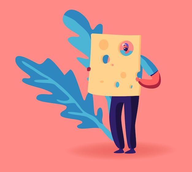 Homem segura um enorme pedaço de queijo com furos. ilustração de desenho animado