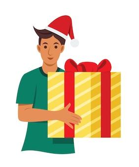Homem segura uma grande caixa de presente.