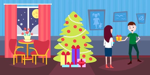 Homem segurando a caixa de presente presente para mulher feliz ano novo feliz natal celebração decorada abeto sala interior