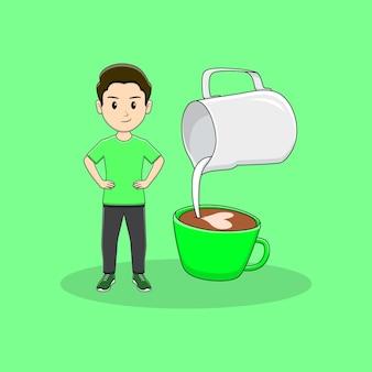 Homem segurando a cintura com latte art premium vector