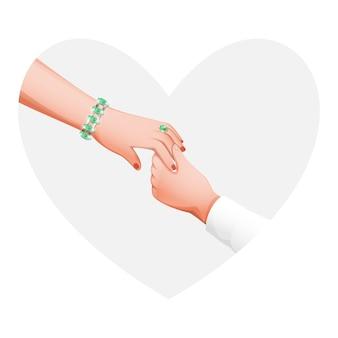 Homem segurando a mão da namorada no fundo branco