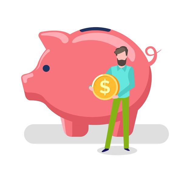 Homem segurando a moeda de ouro, porco, salvando ativos do cliente