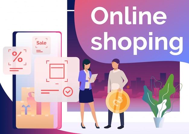 Homem segurando a moeda, fazendo pedidos e compras on-line