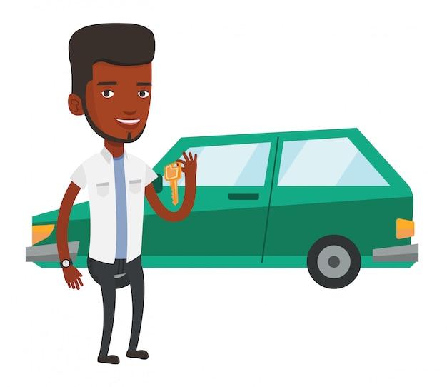 Homem segurando as chaves do seu carro novo.