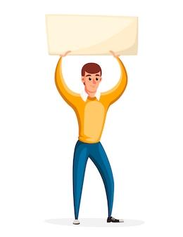 Homem segurando bandeira sem transparência, ativismo de protesto político. conceito de piquete. personagem . ilustração na página do site de fundo branco e no aplicativo móvel.