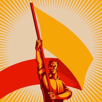 Homem, segurando, em branco, bandeira, vetorial, ilustração
