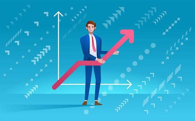 Homem segurando gráfico. conceito de desenvolvimento de negócios. em estilo moderno
