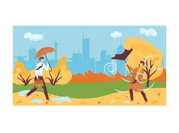 Homem segurando guarda-chuva caminhando no parque urbano da cidade
