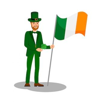 Homem, segurando, irlanda, bandeira, apartamento, cor, ilustração