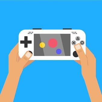 Homem, segurando, jogo móvel, e, jogo jogando