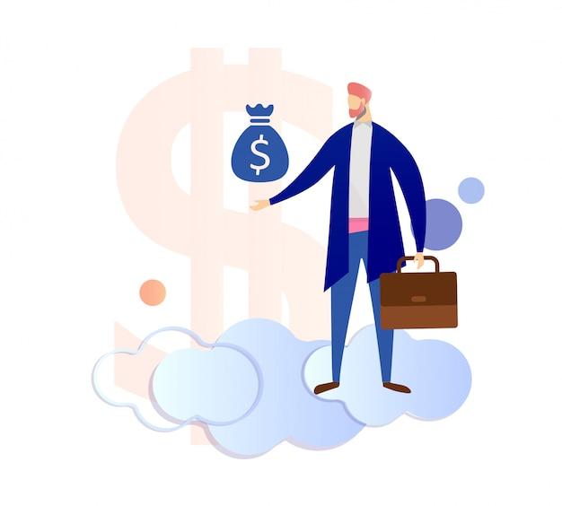 Homem segurando na mão saco com cifrão. banqueiro.