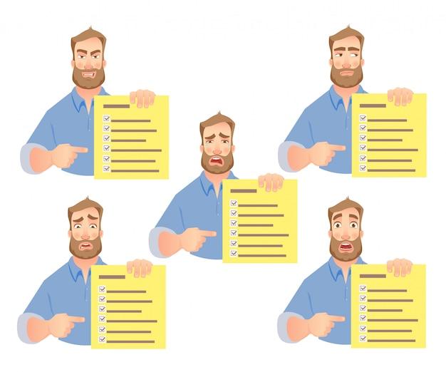 Homem segurando o conjunto de lista de verificação