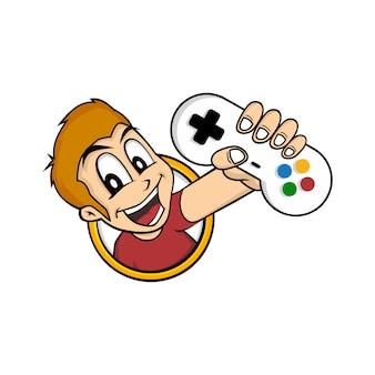 Homem segurando o controlador de joystick do console de jogos