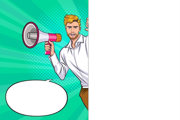 Homem segurando o megafone mostrando um quadro branco em branco homem anúncio pop art retrô em quadrinhos