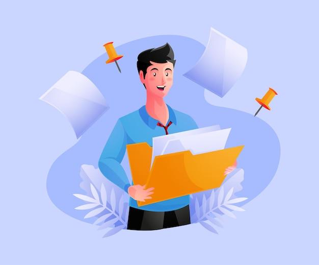 Homem segurando pasta com documentos de administração de negócios e armazenamento de dados